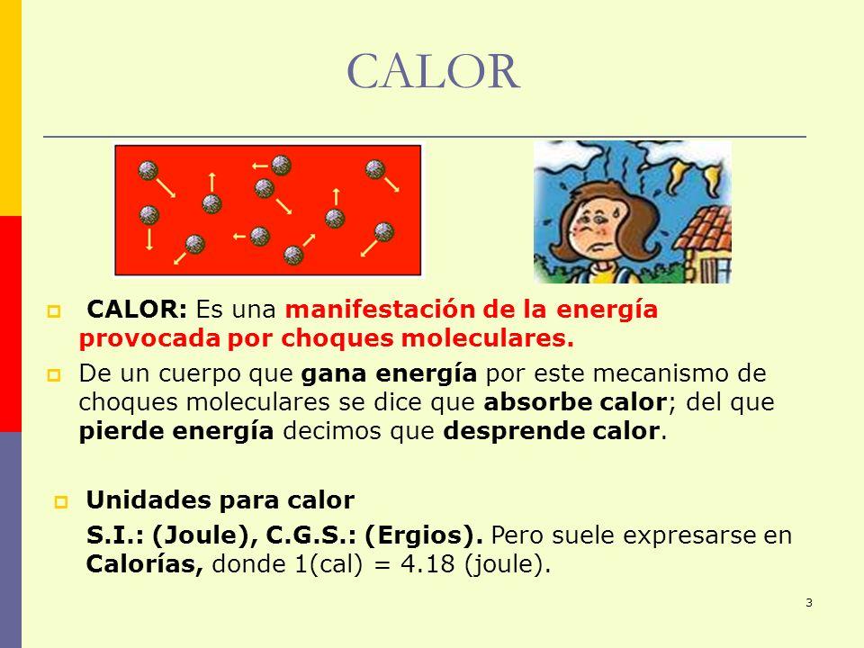 CALOR CALOR: Es una manifestación de la energía provocada por choques moleculares.