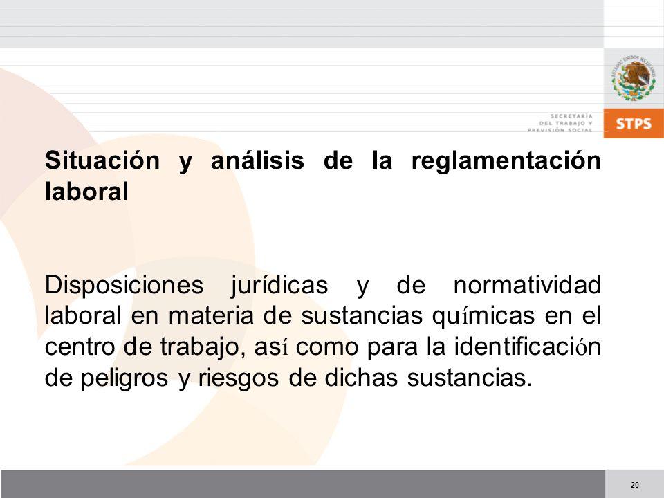 Situación y análisis de la reglamentación laboral