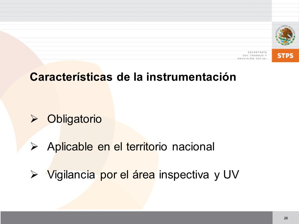 Características de la instrumentación