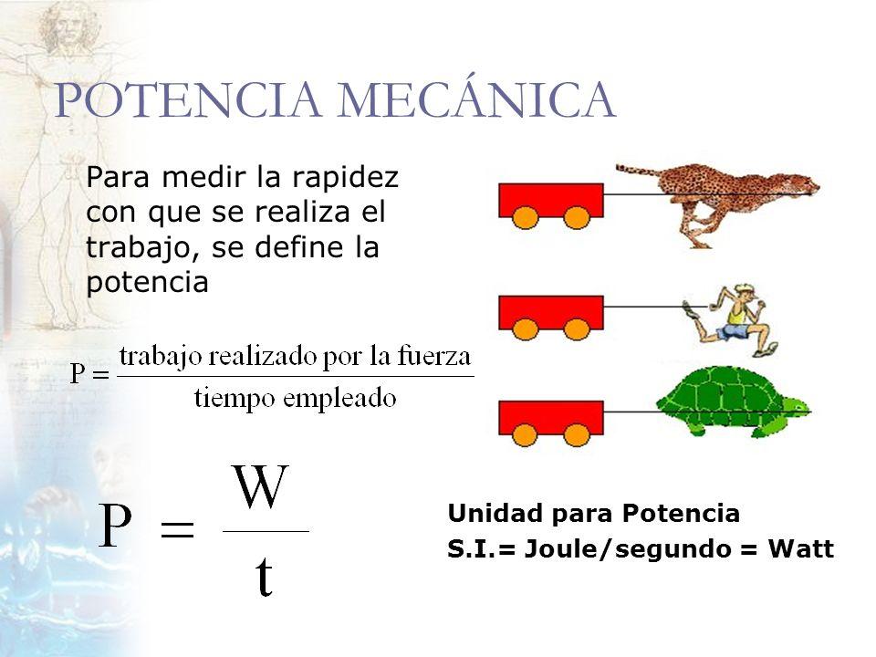 POTENCIA MECÁNICA Para medir la rapidez con que se realiza el trabajo, se define la potencia. Unidad para Potencia.