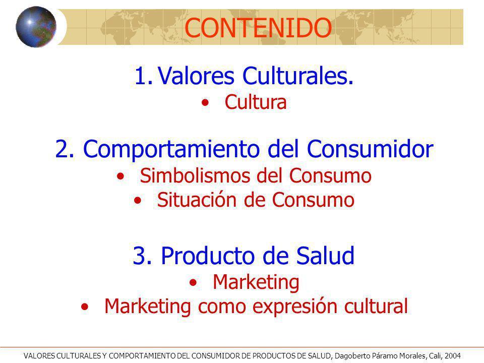 CONTENIDO Valores Culturales. 2. Comportamiento del Consumidor