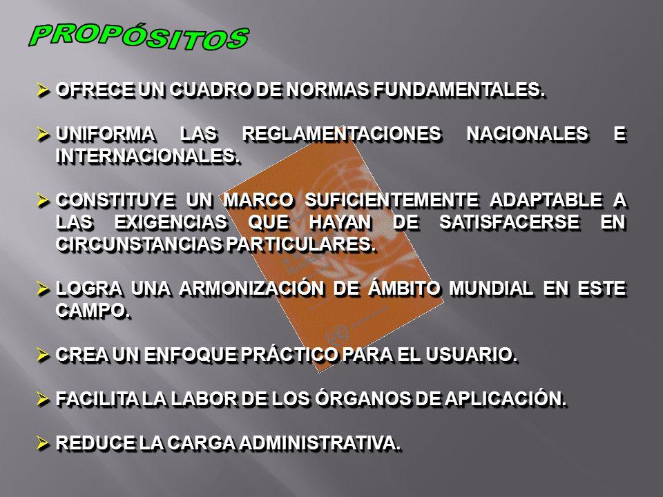PROPÓSITOS OFRECE UN CUADRO DE NORMAS FUNDAMENTALES.