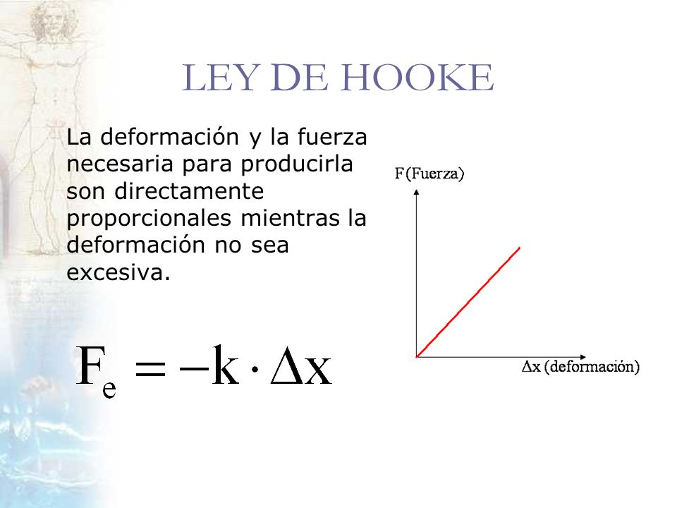 LEY DE HOOKELa deformación y la fuerza necesaria para producirla son directamente proporcionales mientras la deformación no sea excesiva.