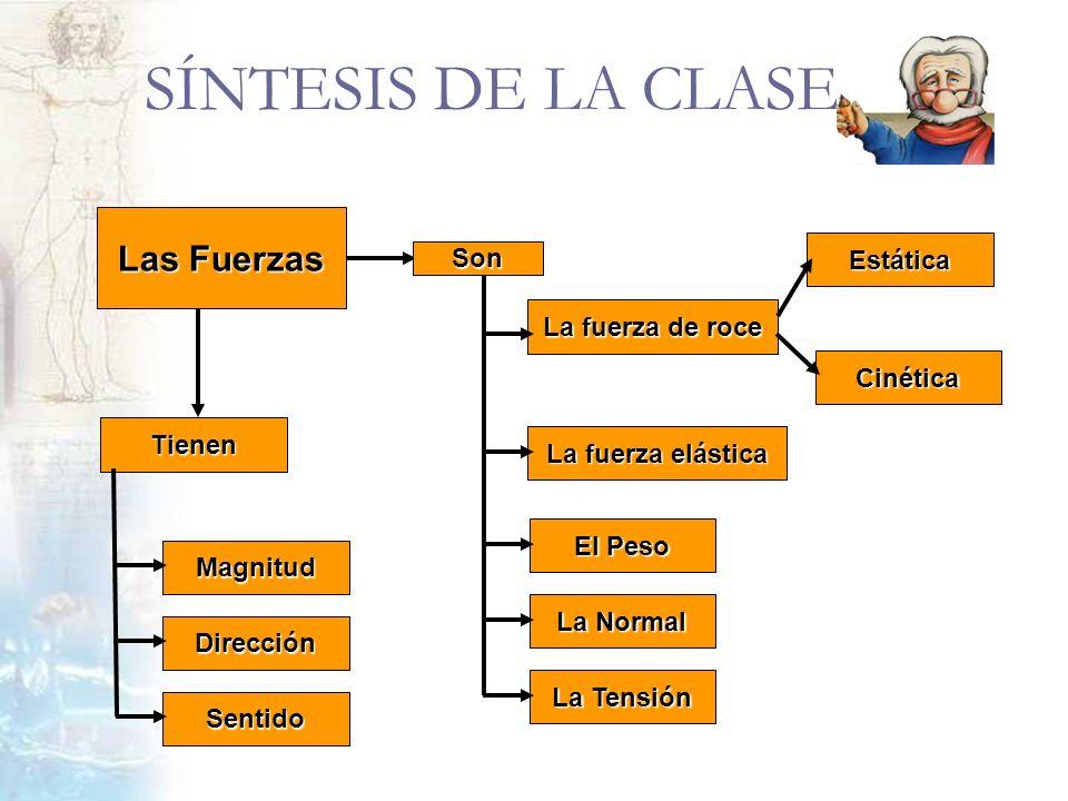 SÍNTESIS DE LA CLASE Las Fuerzas Son Estática La fuerza de roce