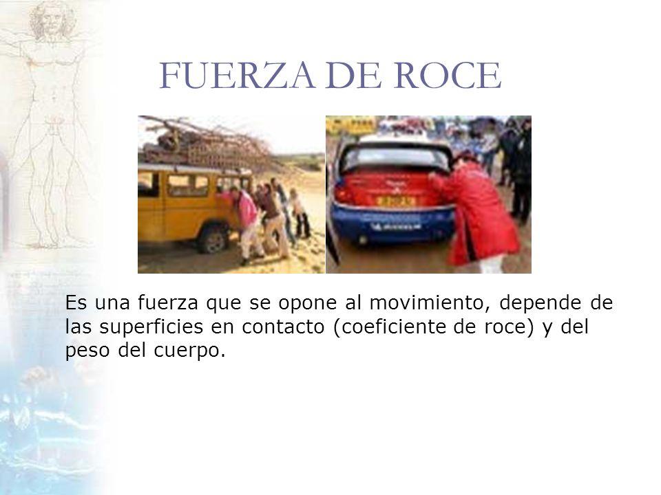 FUERZA DE ROCE Es una fuerza que se opone al movimiento, depende de las superficies en contacto (coeficiente de roce) y del peso del cuerpo.