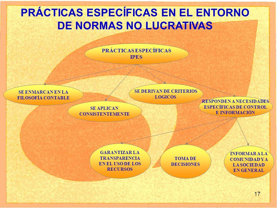 PRÁCTICAS ESPECÍFICAS EN EL ENTORNO DE NORMAS NO LUCRATIVAS