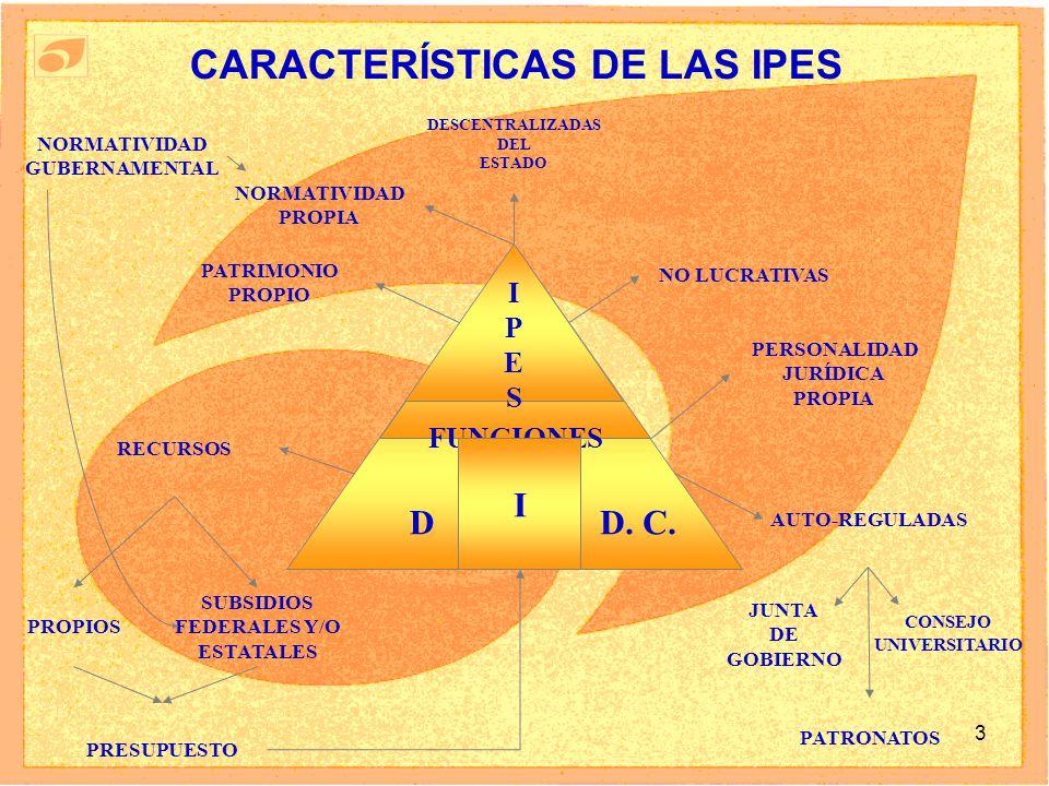 CARACTERÍSTICAS DE LAS IPES