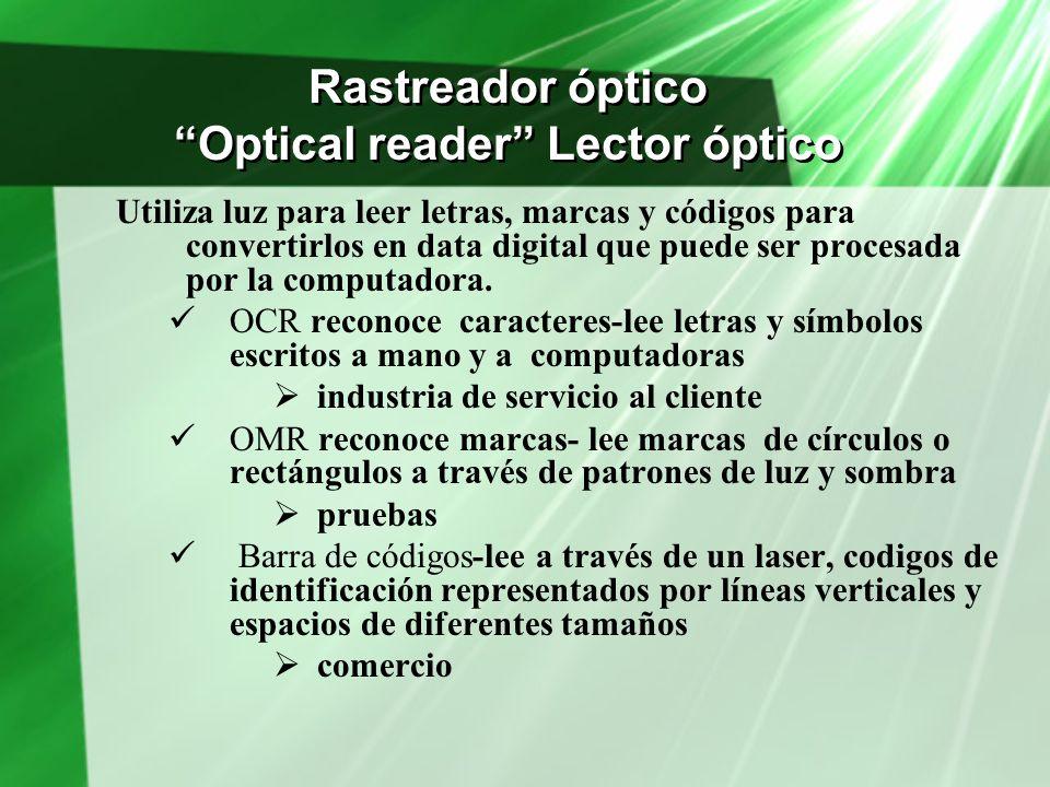 Rastreador óptico Optical reader Lector óptico