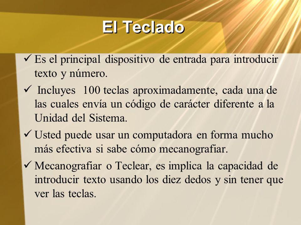 El Teclado Es el principal dispositivo de entrada para introducir texto y número.
