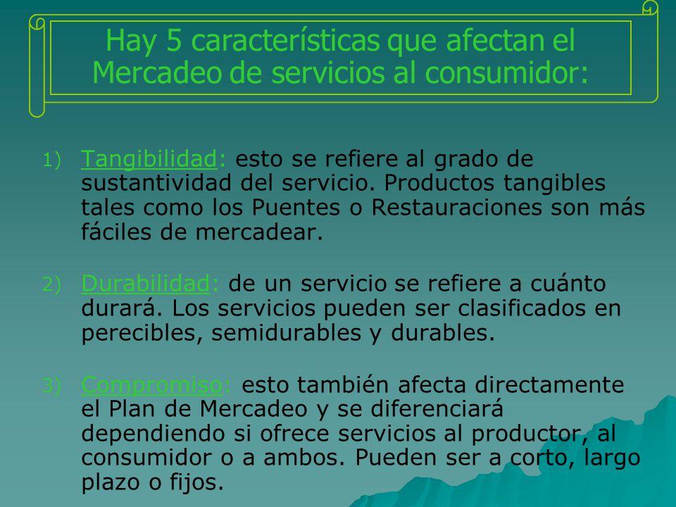 Hay 5 características que afectan el Mercadeo de servicios al consumidor: