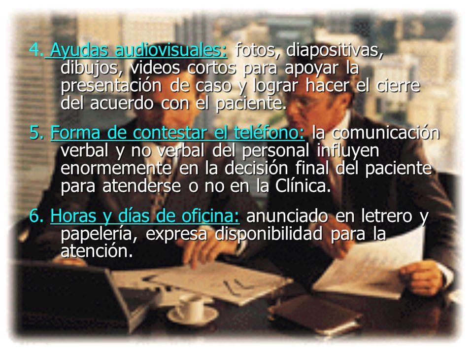 4. Ayudas audiovisuales: fotos, diapositivas, dibujos, videos cortos para apoyar la presentación de caso y lograr hacer el cierre del acuerdo con el paciente.