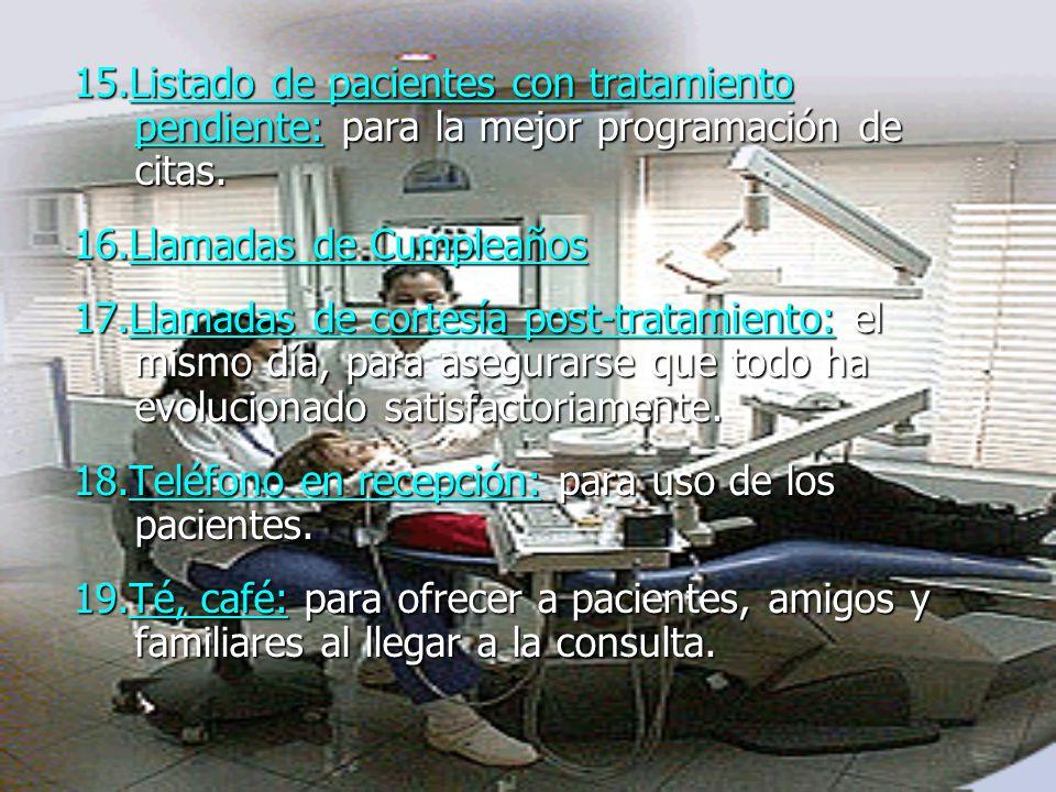 15.Listado de pacientes con tratamiento pendiente: para la mejor programación de citas.
