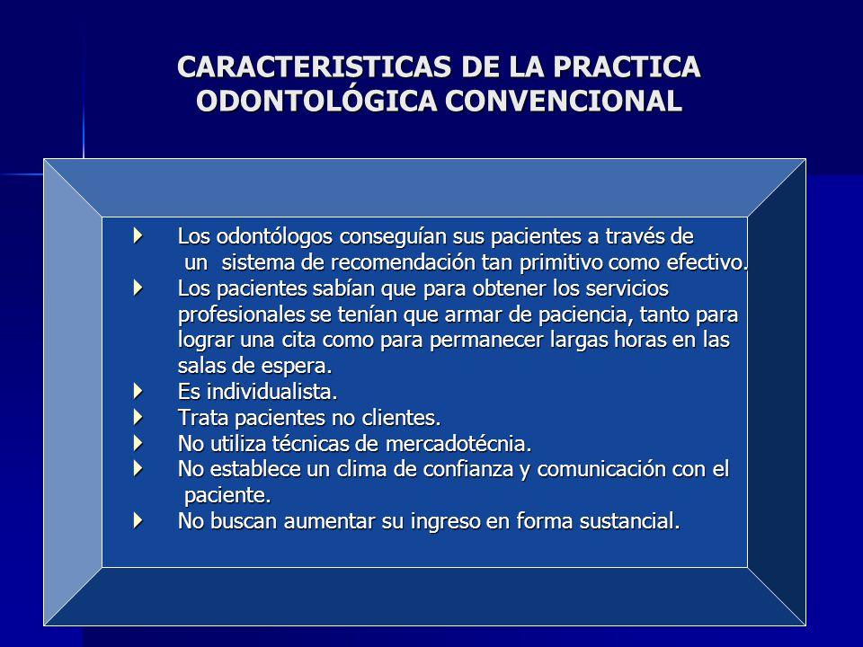 CARACTERISTICAS DE LA PRACTICA ODONTOLÓGICA CONVENCIONAL