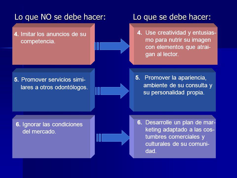Lo que NO se debe hacer: Lo que se debe hacer: