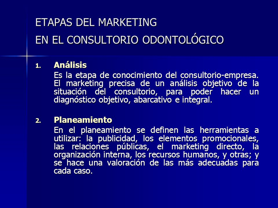 ETAPAS DEL MARKETING EN EL CONSULTORIO ODONTOLÓGICO