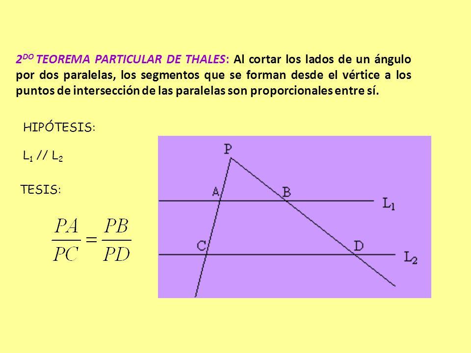 2DO TEOREMA PARTICULAR DE THALES: Al cortar los lados de un ángulo por dos paralelas, los segmentos que se forman desde el vértice a los puntos de intersección de las paralelas son proporcionales entre sí.