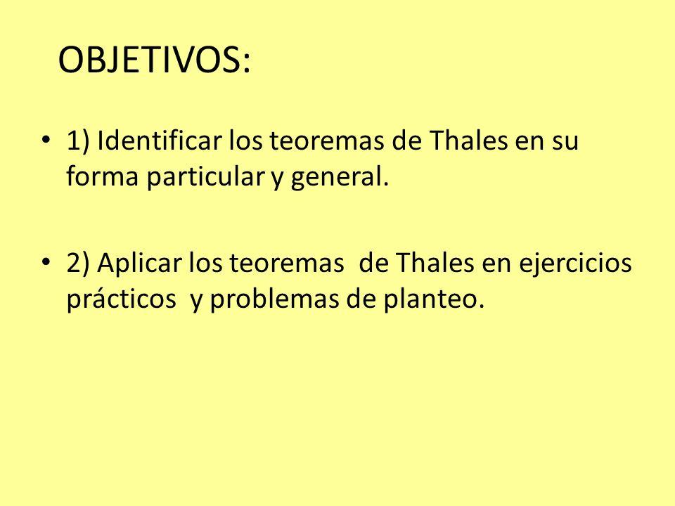 OBJETIVOS:1) Identificar los teoremas de Thales en su forma particular y general.
