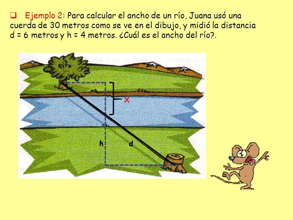 Ejemplo 2: Para calcular el ancho de un río, Juana usó una cuerda de 30 metros como se ve en el dibujo, y midió la distancia d = 6 metros y h = 4 metros. ¿Cuál es el ancho del río .