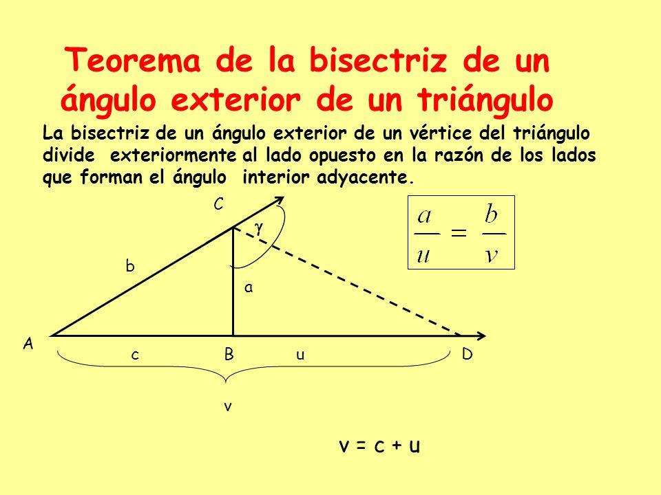 Teorema de la bisectriz de un ángulo exterior de un triángulo