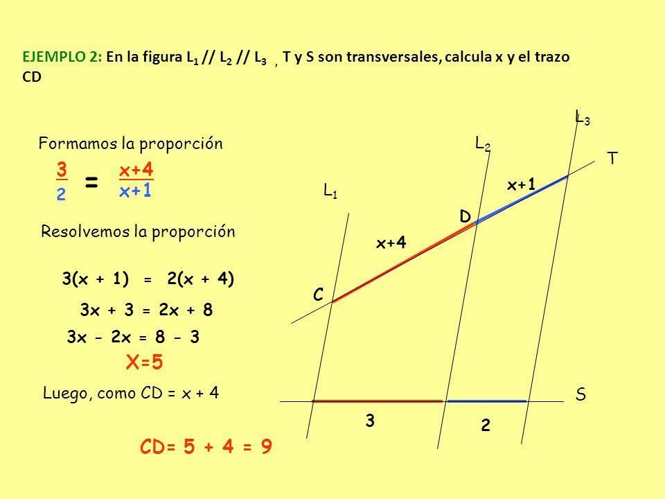 EJEMPLO 2: En la figura L1 // L2 // L3 , T y S son transversales, calcula x y el trazo CD