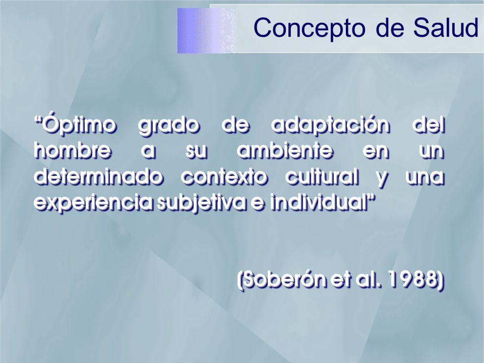 Concepto de Salud Óptimo grado de adaptación del hombre a su ambiente en un determinado contexto cultural y una experiencia subjetiva e individual