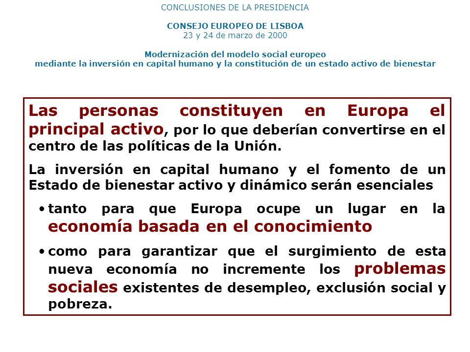 CONSEJO EUROPEO DE LISBOA Modernización del modelo social europeo
