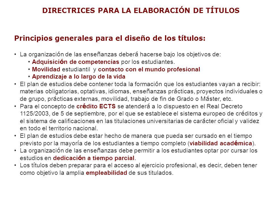 DIRECTRICES PARA LA ELABORACIÓN DE TÍTULOS