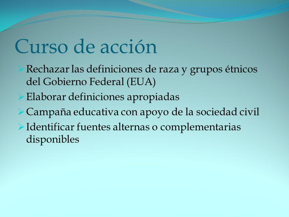 Curso de acción Rechazar las definiciones de raza y grupos étnicos del Gobierno Federal (EUA) Elaborar definiciones apropiadas.