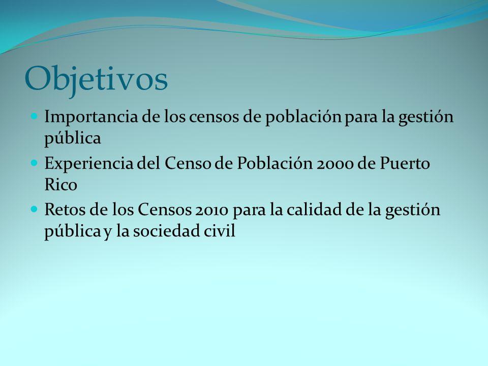 Objetivos Importancia de los censos de población para la gestión pública. Experiencia del Censo de Población 2000 de Puerto Rico.