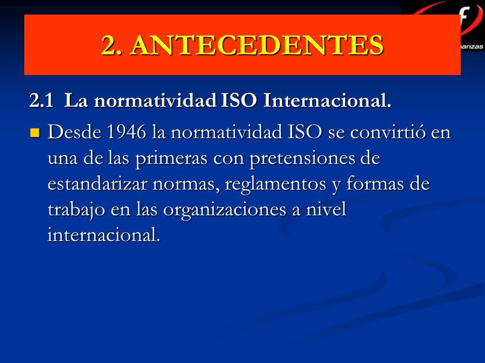 2. ANTECEDENTES 2.1 La normatividad ISO Internacional.