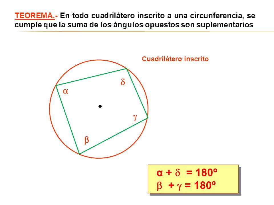 TEOREMA.- En todo cuadrilátero inscrito a una circunferencia, se cumple que la suma de los ángulos opuestos son suplementarios