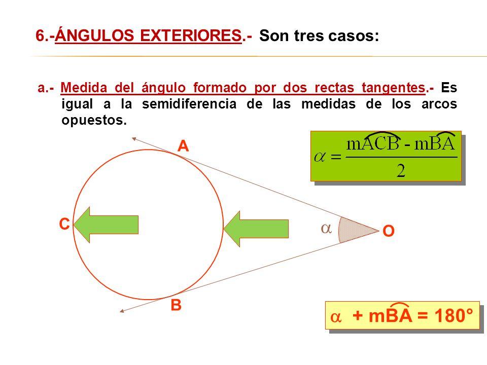   + mBA = 180° 6.-ÁNGULOS EXTERIORES.- Son tres casos: A C O B