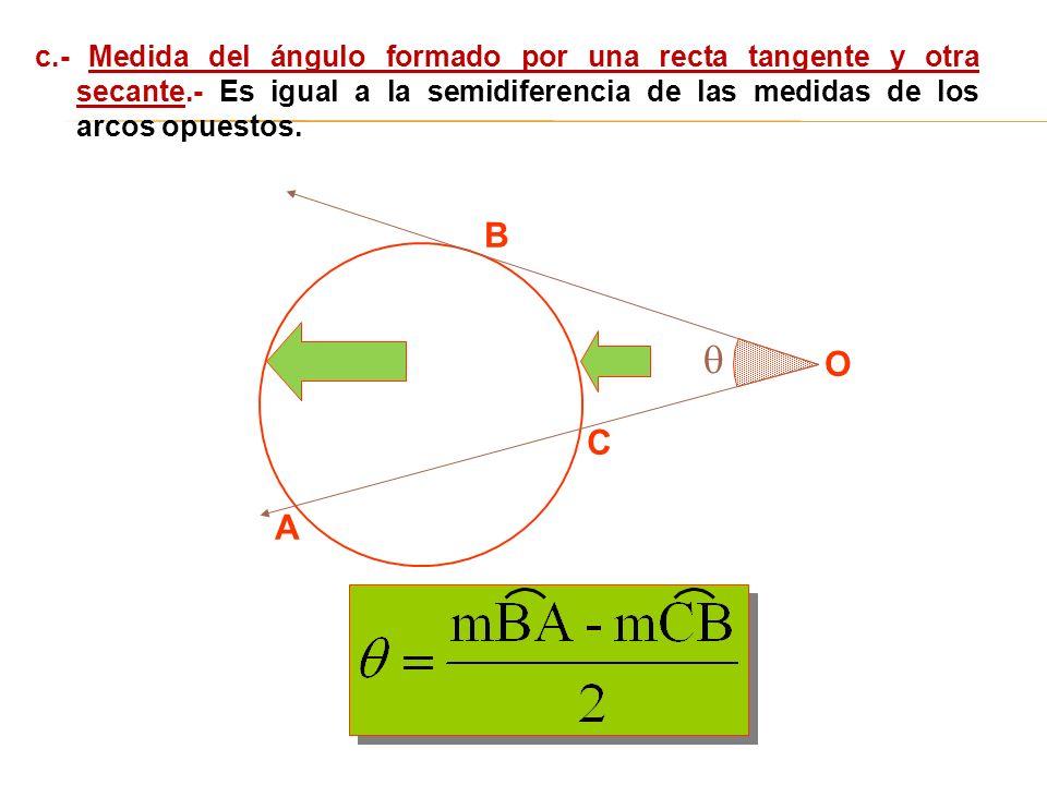 c. - Medida del ángulo formado por una recta tangente y otra secante
