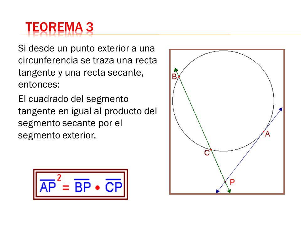 Teorema 3Si desde un punto exterior a una circunferencia se traza una recta tangente y una recta secante, entonces: