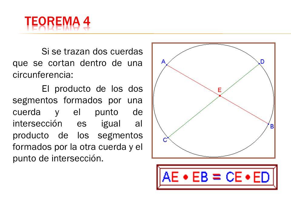 Teorema 4 Si se trazan dos cuerdas que se cortan dentro de una circunferencia: