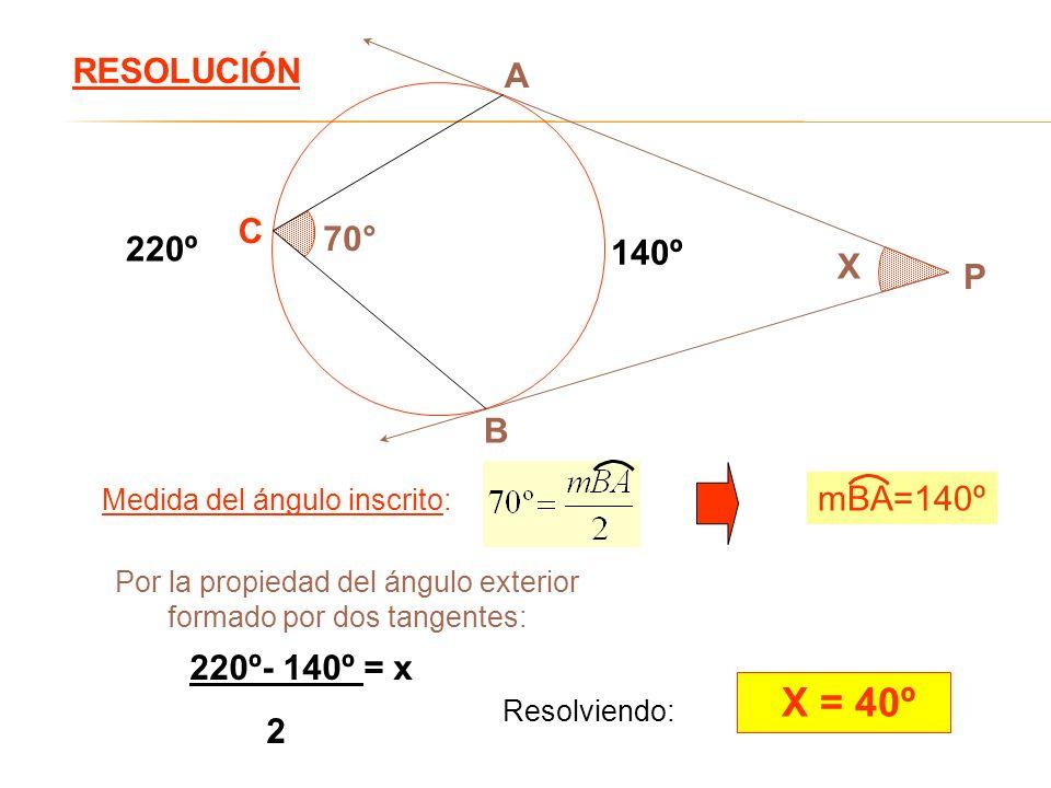 X = 40º RESOLUCIÓN A C 70° 220º 140º X P B mBA=140º 220º- 140º = x 2