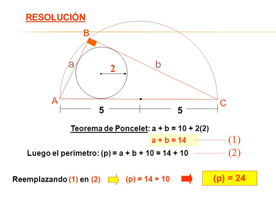 a b 2 (1) (2) RESOLUCIÓN B A C 5 (p) = 24