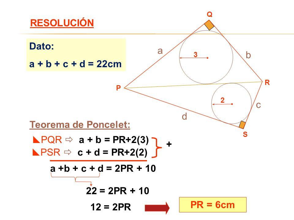 RESOLUCIÓN Dato: a a + b + c + d = 22cm b c d Teorema de Poncelet: