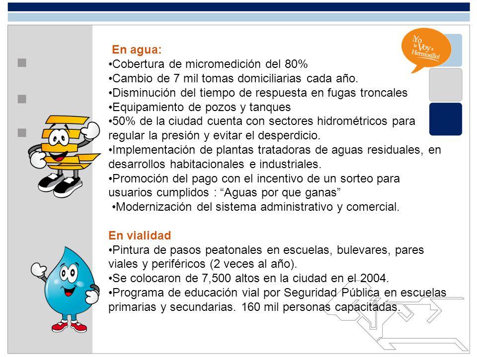 En agua: •Cobertura de micromedición del 80% •Cambio de 7 mil tomas domiciliarias cada año. Disminución del tiempo de respuesta en fugas troncales.