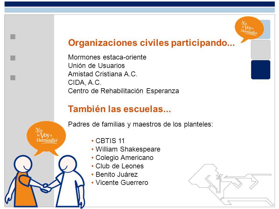 Organizaciones civiles participando...