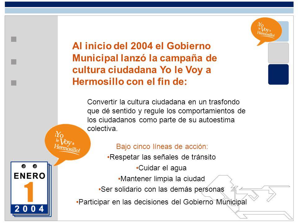 Al inicio del 2004 el Gobierno Municipal lanzó la campaña de cultura ciudadana Yo le Voy a Hermosillo con el fin de: