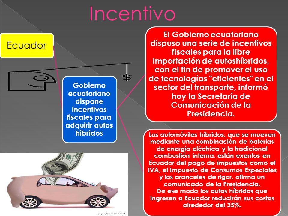 Incentivo Ecuador. Gobierno ecuatoriano dispone incentivos fiscales para adquirir autos híbridos.