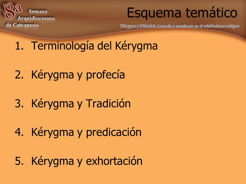 Esquema temático Terminología del Kérygma Kérygma y profecía