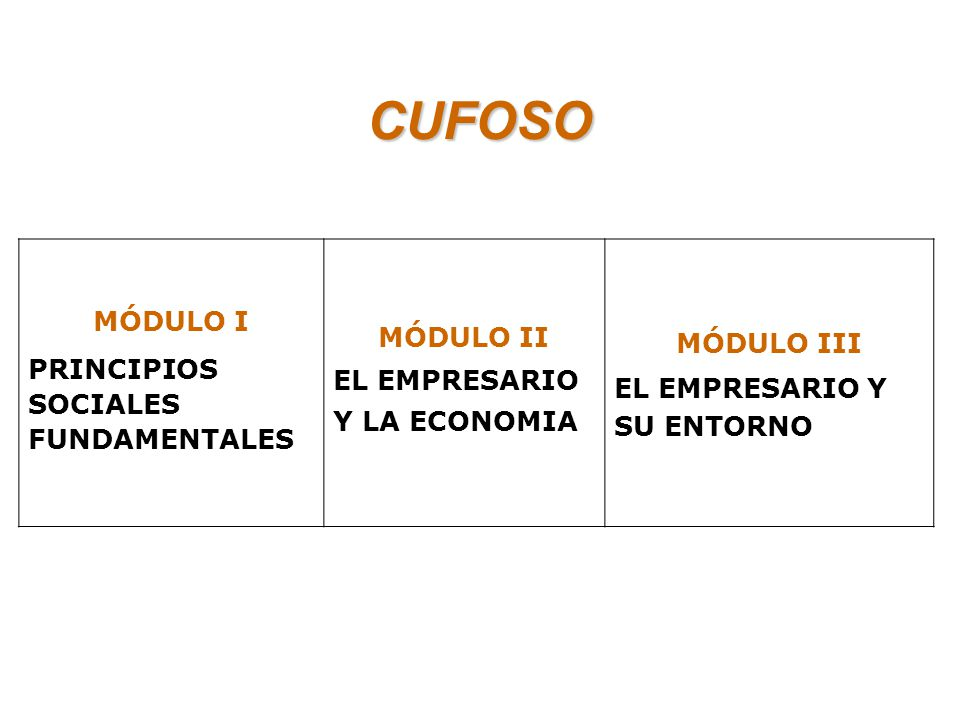 CUFOSO MÓDULO I MÓDULO II MÓDULO III PRINCIPIOS SOCIALES FUNDAMENTALES