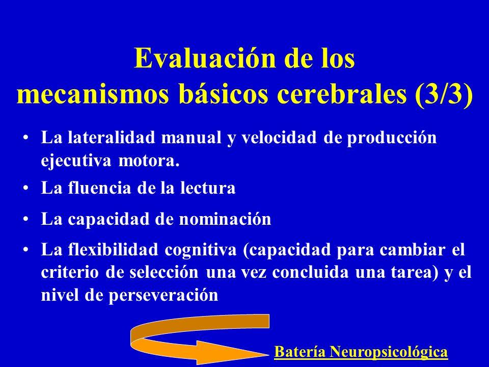 Evaluación de los mecanismos básicos cerebrales (3/3)