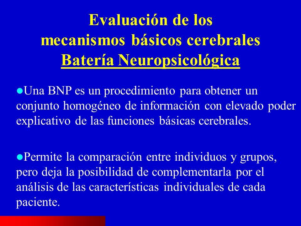 Evaluación de los mecanismos básicos cerebrales Batería Neuropsicológica