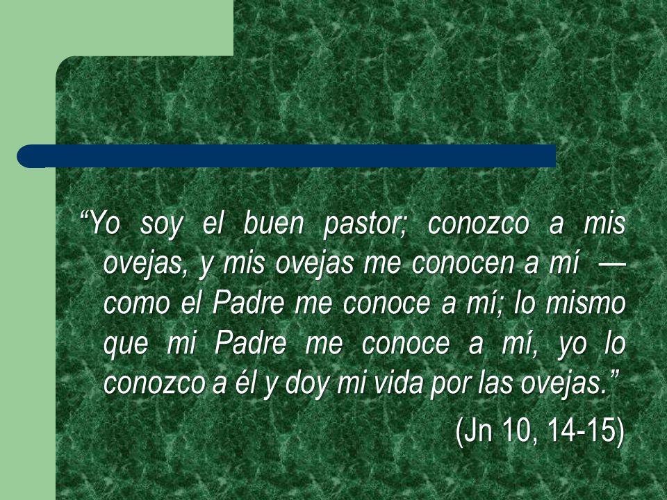 Yo soy el buen pastor; conozco a mis ovejas, y mis ovejas me conocen a mí —como el Padre me conoce a mí; lo mismo que mi Padre me conoce a mí, yo lo conozco a él y doy mi vida por las ovejas.