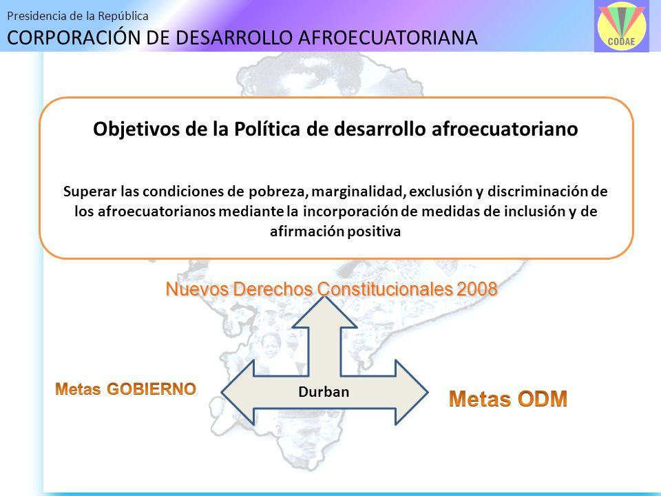 Objetivos de la Política de desarrollo afroecuatoriano