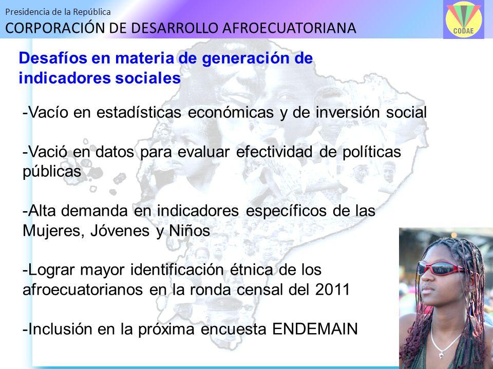 Desafíos en materia de generación de indicadores sociales
