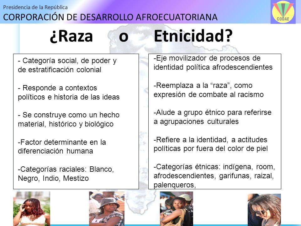 ¿Raza o Etnicidad Eje movilizador de procesos de identidad política afrodescendientes.